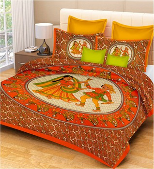 Priyam - Cotton Printed Double Bedsheet With Pillow Cover-Z21JP502E11FF