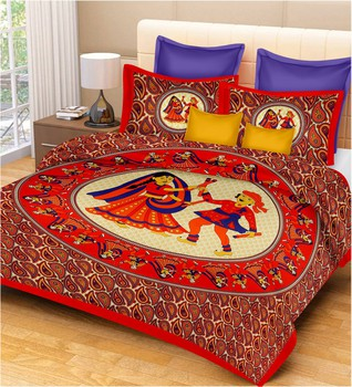 Priyam - Cotton Printed Double Bedsheet With Pillow Cover-Z21JPB7DBBAF8