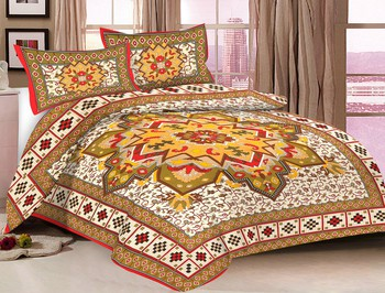 Priyam - Cotton Printed Double Bedsheet With Pillow Cover-Z21JP84F5ECF4