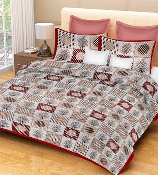 Priyam - Cotton Printed Double Bedsheet With Pillow Cover-Z21JPB9723D48