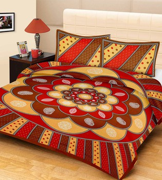 Priyam - Cotton Printed Double Bedsheet With Pillow Cover-Z21JP6BE77CF9