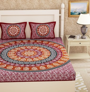 Priyam - Cotton Printed Double Bedsheet With Pillow Cover-Z21JPEC098BDA