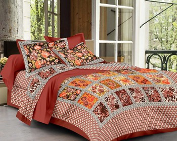 Priyam - Cotton Printed Double Bedsheet With Pillow Cover-Z21JPD58CCA5A