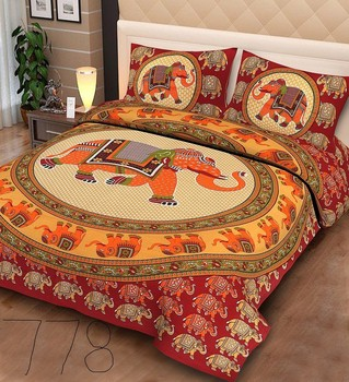 Priyam - Cotton Printed Double Bedsheet With Pillow Cover-Z21JP7C7BF69D