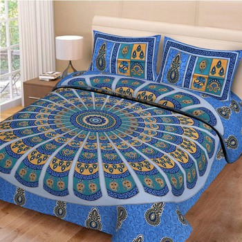 Priyam - Cotton Printed Double Bedsheet With Pillow Cover-Z21JP13A472AD