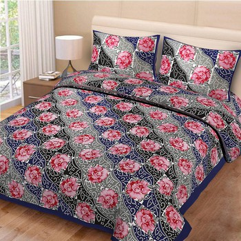 Priyam - Cotton Printed Double Bedsheet With Pillow Cover-Z21JP99DA05DC