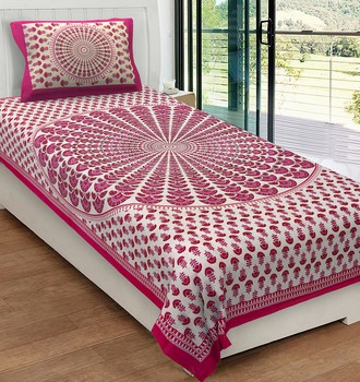 Priyam - Cotton Printed Single Bedsheet With Pillow Cover-Z21JP28A3BAF1