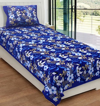 Priyam - Cotton Printed Single Bedsheet With Pillow Cover-Z21JPE12D602C