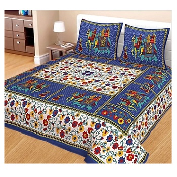 Naomi - Cotton Printed Double Bedsheet With Pillow Cover-Z54JPE77F3A02
