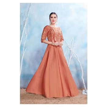 Satin Embroidery Gown-160STB72C765D