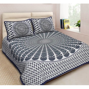 Naomi - Cotton Printed Double Bedsheet With Pillow Cover-Z54JPE7D1BBEB