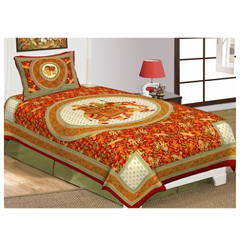 Priyam - Cotton Printed Single Bedsheet With Pillow Cover-Z21JPECA90F3B