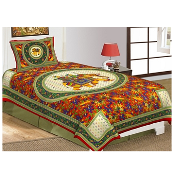 Priyam - Cotton Printed Single Bedsheet With Pillow Cover-Z21JPD2F601FD