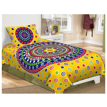 Priyam - Cotton Printed Single Bedsheet With Pillow Cover-Z21JPC82DA1AC