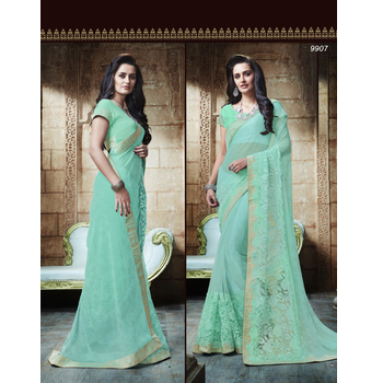 Shimmer And Lycra Embroidery Saree With Blouse-017ST14BD8EA2