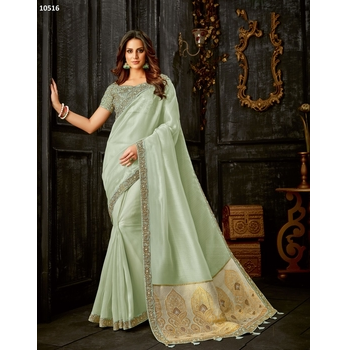 Maryam - Tissue Embroidery Saree With Blouse-017ST977E377E