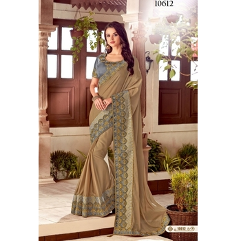 Maryam - Dual Tone Silk Embroidery Saree With Blouse-017ST33959BA7