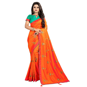 Greeny - Silk Embroidery Saree With Blouse-210STD2916E7A