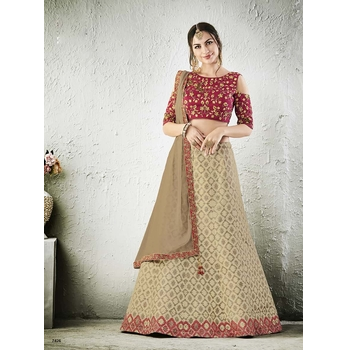 Jacquard Silk Embroidery Anarkali Unstitched Lehenga Choli-017STD5866585