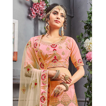 Pure Silk Embroidery Semi-Stitched Lehenga Choli-160ST8179A5FA