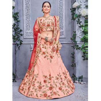 Silk Embroidery Unstitched Lehenga Choli With Dupatta-160ST3DE90227