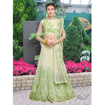 Aahna - Net Embroidery Zari Work Unstitched Lehenga Choli-160STA05C3029
