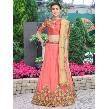 Aahna - Net Embroidery Zari Work Unstitched Lehenga Choli-160ST15BB742C