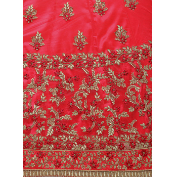Net Embroidery Unstitched Lehenga Choli-160ST61EA0F29