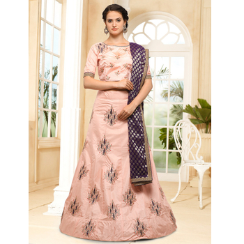 Silk Embroidery A - Line Unstitched Lehenga Choli With Dupatta-160ST7AB2D9DD