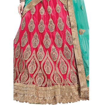 Net A-Line Embroidery Lehenga Choli With Unstitched Blouse-160ST9163889C