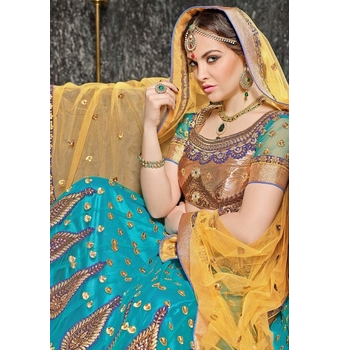 Net A-Line Embroidery Unstitched Lehenga Choli-160ST7395D7C4