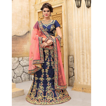 Turkey Silk Embroidery Unstitched Lehenga Choli With Dupatta-160ST3B18097B
