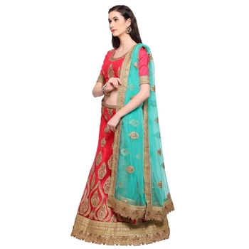 Net Embroidery Unstitched Lehenga Choli-160STF59CCDB1