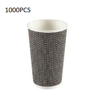 1000PCS (8 Oz) Brown Ripple Paper Cup + Lid