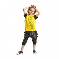 Rawr Yellow T-shirt With Black Baggy 3/4 Short