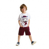 Raw Boys Panda Printed White T-shirt With Maroon Short