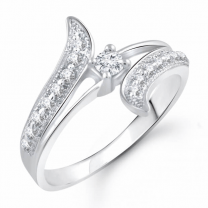 Designer Creature Cz Rhodium Plated Alloy Ring for Women