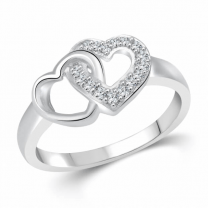 Hum Tum Heart (Cz) Silver and Rhodium Plated Ring for Girls and Women