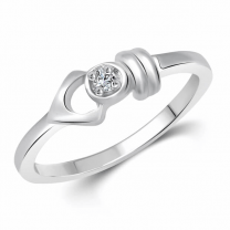Simple Unique (Cz) Silver and Rhodium Plated Ring