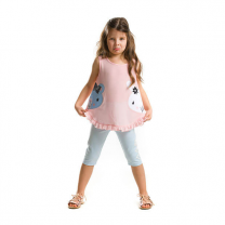 Raw Sue&Lue Tunic Pink Top with Assorted White Legging