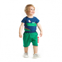 Raw Jungle Friends Boy Printed Blue Bodysuit with Multi-color Short