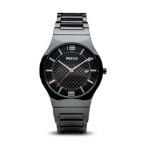 Ladies Quartz Black Ceramic Case Black Dial Watch