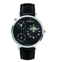 Grovana Black Dial Leather Men's Watch