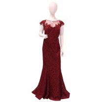 Ideal Fashion Wedding Dress,Maroon, Large