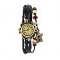 Vintage Stylish Black Wrist Watch for Women