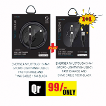 Special  1+1 Offer Energea Nylotough 3 in 1  Fast Charge And Sync Cable 18CM + Energea Nylotough 3 in 1  Fast Charge And Sync Cable 1.5M BLACK