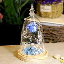 Blue Roses Wood Base