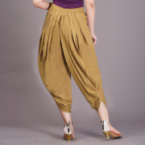 Kia - Beige Rayon Slub High Waist Dhoti Pants With Button-WSBJPSAZ092BEIGE