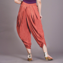 Kia - Brick Rayon Slub High Waist Dhoti Pants With Button-WSBJPSAZ092BRICK