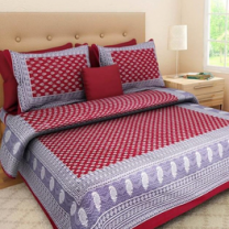 Nari - Cotton Printed Double Bedsheet With Pillow Cover-P96JP046C3E49